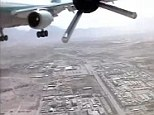Classified footage shows how the 88lb drone came to hitting the plane, risking the lives of its 100 passengers