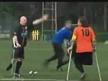Head-to-head: The two players became involved in a heated debate after the Dutch player was hauled down by his leg