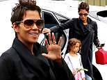 Doting mother: Halle Berry dropped off her daughter Nahla at school in Studio City, California on Tuesday