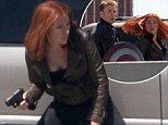 Scarlett Johansson leaps into action as she shoots adrenaline-fuelled scenes with Chris Evans for Captain America sequel
