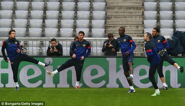 Barcelona players train before their clash with Bayern Munich - THERE IS NO IMPLICATION THEY ARE INVOLVED WITH MATCH FIXING
