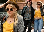 She matches the taxi! Sienna Miller flashes her flat tummy in yellow cropped top as she hails a cab with fiance Tom Sturridge