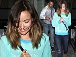Olivia Wilde and her fiance Jason Sudeikis departed a dinner date at Red O restaurant in West Hollywood, California on Wednesday night