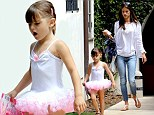 Her little ballerina! Alessandra Ambrosio's daughter Anja wore a tiny tutu as the two arrived home in Brentwood, California on Wednesday
