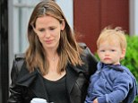 Quality time: Jennifer Garner bonds with her son Samuel after dropping her girls off at school as they head for some breakfast