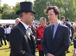 Swapping fashion tips? Benedict Cumberbatch chatted to Prince Edward, the Earl of Wessex, during a garden party at Buckingham Palace on Thursday