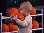 A two-year-old boy who has a remarkable talent for basketball trick shots managed to take on one of the NBA greats, Shaquille O'Neal. Shaq seemed rusty and missed every shot whilst baby Titus was a force to be reckoned with.