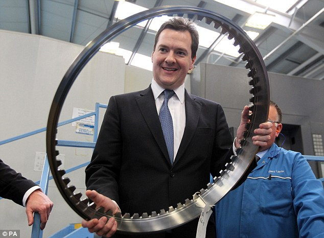Economic plans: George Osborne (pictured yesterday in Glasgow) and the Bank of England will outline plans to beef up their £80billion Funding for Lending scheme after the Chancellor was forced to deny he was panicking