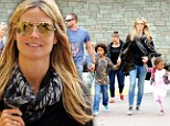 One big, happy family! Heidi Klum and her boyfriend Martin Kristen took her kids Leni, nine, Henry, seven, Johan, six, and Lou, three, shopping in Westwood, California on Friday.