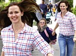 Jennifer Garner and daughter Violet run gleefully from school as they gear up for summer vacation