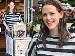 She's earned those stripes! Jennifer Garner takes off in spirited top and wet hair for solo breakfast and grocery run