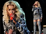She's feeling sombre! Rita Ora wears dress, jacket and over-the-knee boots in crazy skull print to perform at Parklife