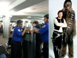 Let the wookiee win: Peter Mayhew, who played Harrison Ford's sidekick Chewbacca in Star Wars, took to Twitter after airport security removed his light saber walking cane