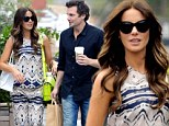 Showing her stripes! Kate Beckinsale dons a bold pattern from head to toe as she shops with husband Len Wiseman