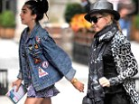 Madonna's daughter Lourdes, 16, leads the fashion pack with Eighties-style denim jacket as her mother hides her face in fedora and large sunglasses