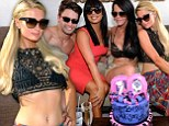 What was she thinking? Paris Hilton was seen in an interesting (to say the least) ensemble as she celebrated the birthday of her friend Allison Melnick in Las Vegas on Saturday