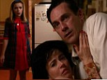 Awkward moment: Jon Hamm's Don Draper character gets caught with his pants down by his daughter Sally, played by Kiernan Shipka, on Sunday's episode of AMC's hit show Mad Men