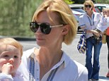 Betty bell bottoms! January Jones goes mod in flared jeans as she grabs lunch with son Xander and her mother