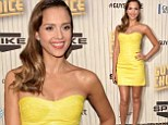 Exotic beauty! Jessica Alba lets her fabulous figure do the talking in yellow leather dress at Guys Choice Awards