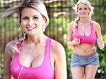 Working off those pregnancy pounds in style! Holly Madison runs for fun in cleavage-baring crop top and tiny shorts