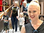 Matching outfits: Gwen Stefani and sons Kingston and Zuma along with sister-in-law Soraya Rossdale wore coordinating outfits on Sunday during a trip to the mall