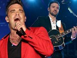 Let us entertain you! Robbie Williams closes the Summertime Ball with Angels after host Justin Timberlake goes acoustic to perform Cry Me A River