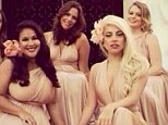 Lady bridesmaid: Gaga dresses in a pale pink halter dress for her best friend's wedding