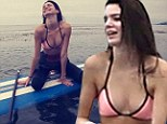 'Gloomy day of paddling': Kendall Jenner posted this picture on her Instagram page following an afternoon in the surf over the weekend