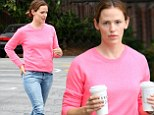 Make it a double! Jennifer Garner brightens the day in pink sweater to pick up two coffees to go