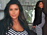 A very happy Pregnant Kim Kardashian who looks freshly sprayed tanned wearing a striped maxi dress, goes to Mr. C