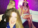 New friend! Khloe Kardashian tweeted a picture of herself with a monkey on her head at Maria Memounos' 35th birthday bash on Saturday