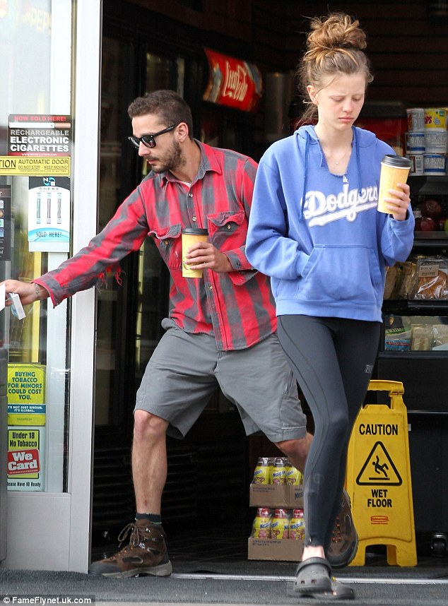 Coffee-o'-clock: Shia LaBeouf and his girlfriend Mia Goth slipped into a Sherman Oaks gas station early on Friday morning to kick start their day with a dose of caffeine