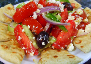 20120419 Horiatiki Greek Salad 300x210 Greek Fare Served with Good Cheer