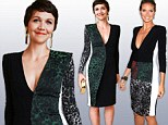 Wild things: Maggie Gyllenhaal in a Roland Mouret dress in New York on Tuesday. Heidi Klum (right) wore a variation of the design on Monday
