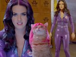 Miaow! A catsuit-clad Katy Perry raps and fights crime alongside feline friends in wigs in paw-culiar new Popchips advert