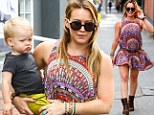 Hilary Duff and son Luca go for a walk in West Hollywood, California on Tuesday