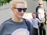 Cate Blanchett revealed her avante-garde style, opting for a laid back look in an artistic-printed sweater as she collected her five-year-old son Ignatius and his friend from school in Sydney, Australia on Wednesday.