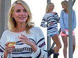 Cameron Diaz marches over to her body double on the set of The Other Woman