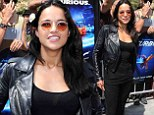 Michelle Rodriguez races around in comfortable clothing as she promotes new Turbo movie