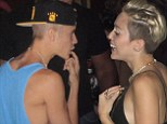 'Hardcore flirting': Justin Bieber and Miley Cyrus were pictured at Beacher's Madhouse at the Roosevelt Hotel in LA over the weekend