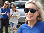 Not so glam: Sharon Stone opted for a much less glamorous look for a date with her girlfriend in Studio City