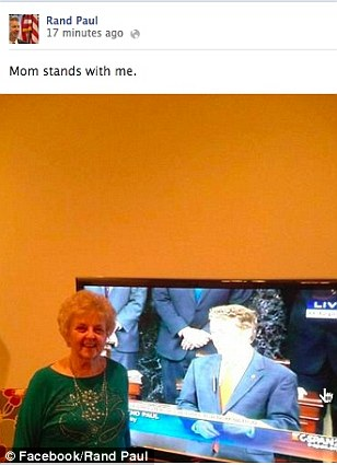Rand Paul posted this photo to his Facebook page of his mom watching him filibuster