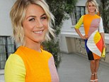 Julianne Hough complements her sun-kissed glow with vibrant mod dress for fashion bash