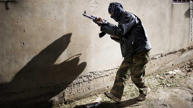 A rebel takes position in Al-Qsair on January 27.