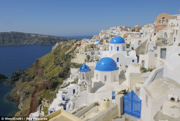 Holiday together: The pair went on a break to the island of Santorini (pictured) in Greece