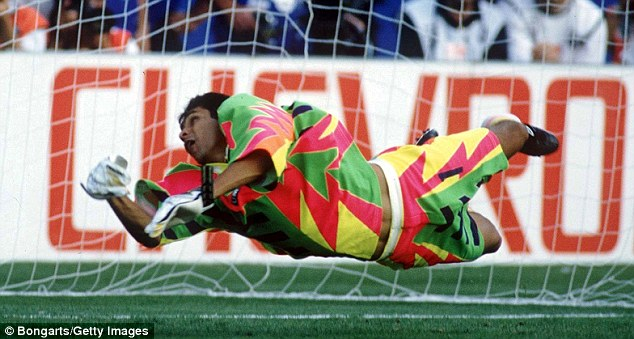 Full stretch: Athletic in goal, it didn't take long for Jorge Campos to be noticed