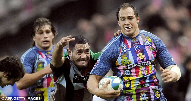 Scary: Sergio Parisse showing off the many faces of Stade Francais's bizarre kit policy