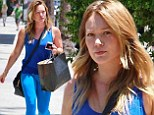 Bare-faced Hilary Duff shows off her toned figure in skintight leggings for solo shopping trip