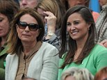 Will they be the first to find out? Carole and Pippa Middleton watch at the Queen's Club in west London