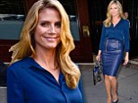The great blue wonder! Heidi Klum is a vision in slinky cobalt leather